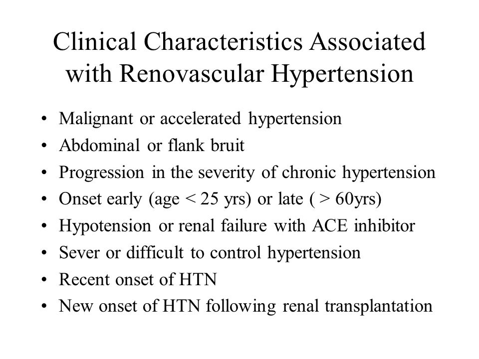 Clinical Characteristics Associated with Renovascular Hypertension