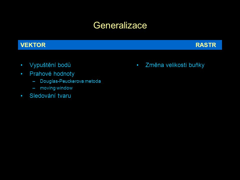 Generalizace VEKTOR RASTR Vypuštění bodů Prahové hodnoty