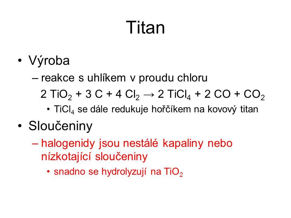 Titan Výroba Sloučeniny reakce s uhlíkem v proudu chloru