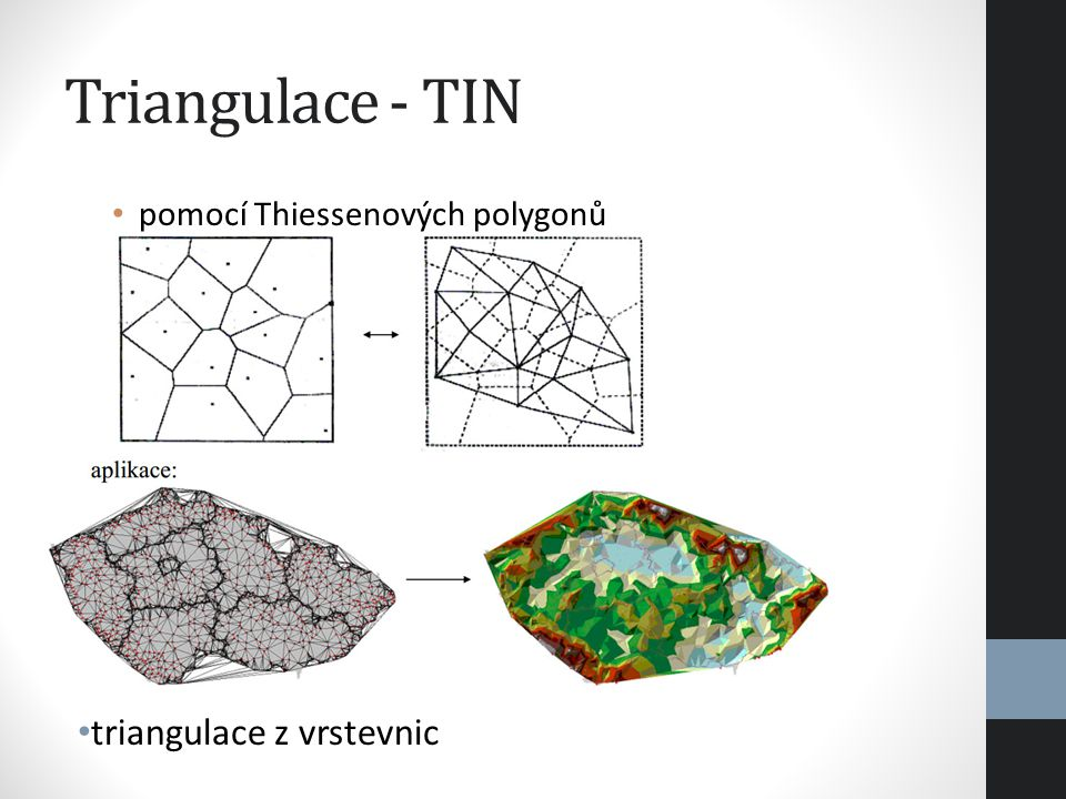 Triangulace - TIN triangulace z vrstevnic