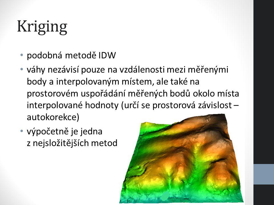 Kriging podobná metodě IDW