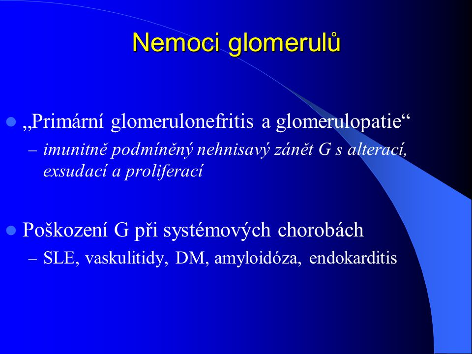 """Nemoci glomerulů """"Primární glomerulonefritis a glomerulopatie"""