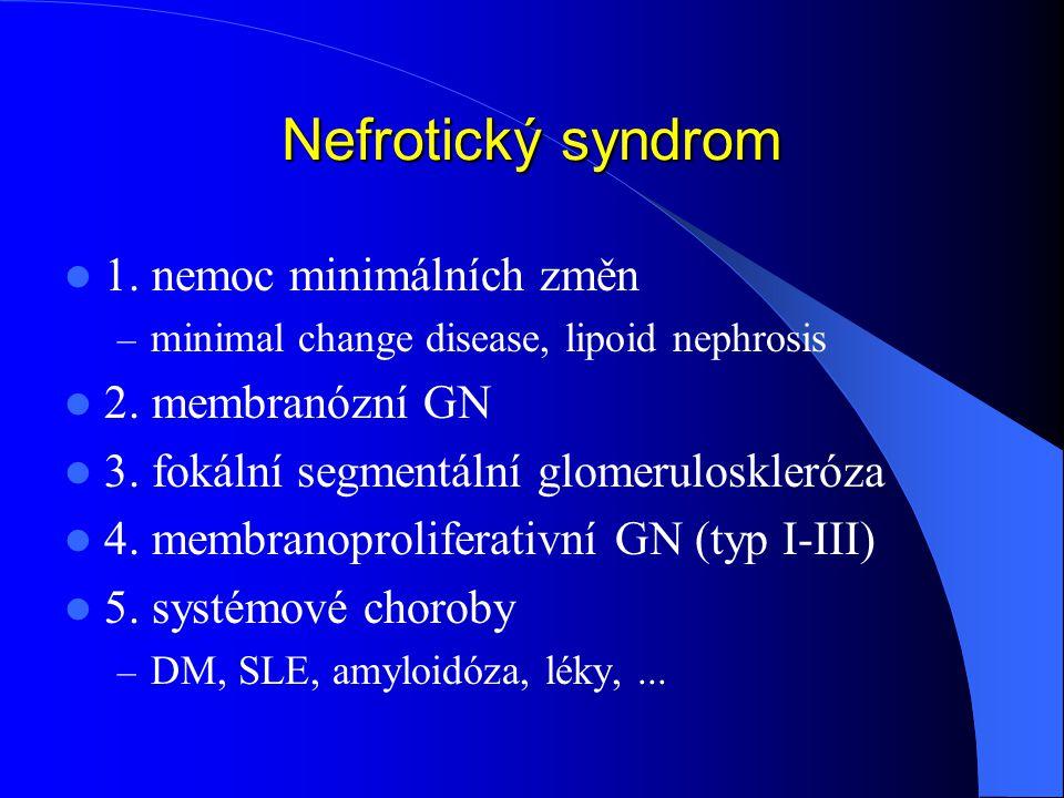 Nefrotický syndrom 1. nemoc minimálních změn 2. membranózní GN