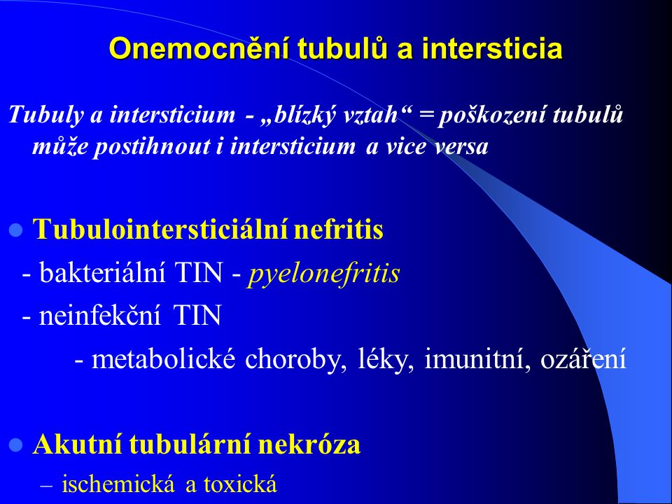 Onemocnění tubulů a intersticia