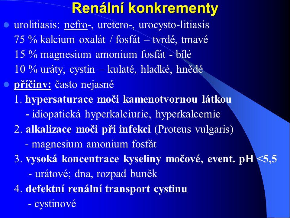 Renální konkrementy urolitiasis: nefro-, uretero-, urocysto-litiasis