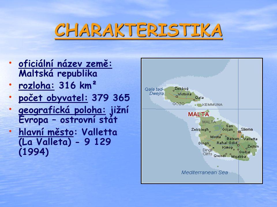 CHARAKTERISTIKA oficiální název země: Maltská republika