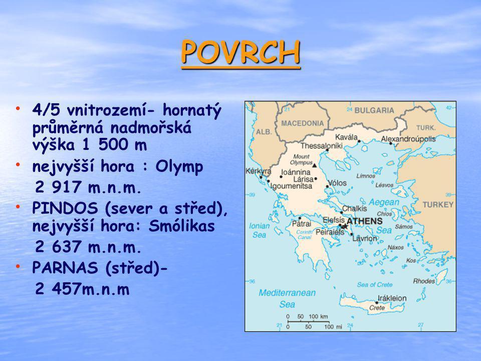 POVRCH 4/5 vnitrozemí- hornatý průměrná nadmořská výška 1 500 m