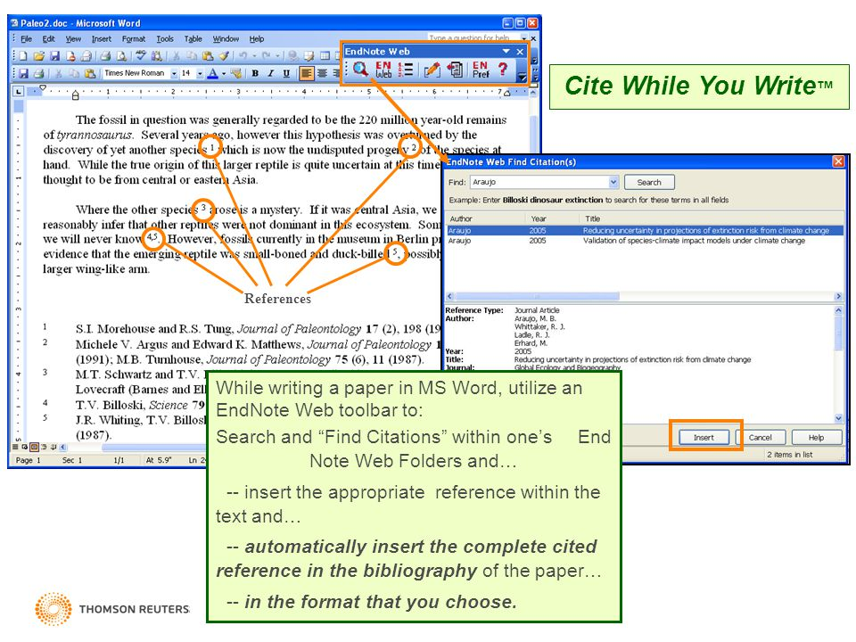 Search and Find Citations within one's End Note Web Folders and…