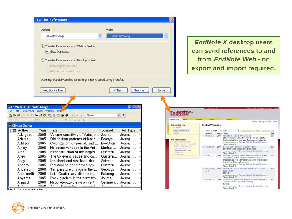 Izmir, Turkey - 15 May 2008 EndNote X desktop users can send references to and from EndNote Web - no export and import required.