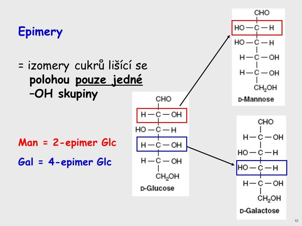 = izomery cukrů lišící se polohou pouze jedné –OH skupiny