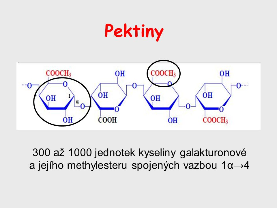 Pektiny 300 až 1000 jednotek kyseliny galakturonové