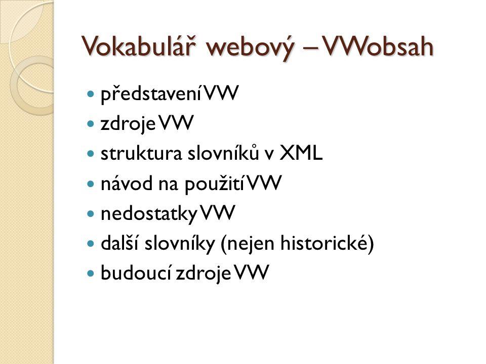 Vokabulář webový – VWobsah