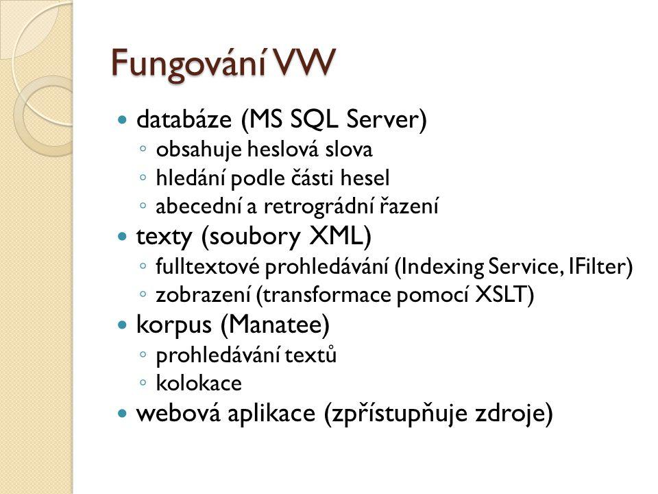 Fungování VW databáze (MS SQL Server) texty (soubory XML)