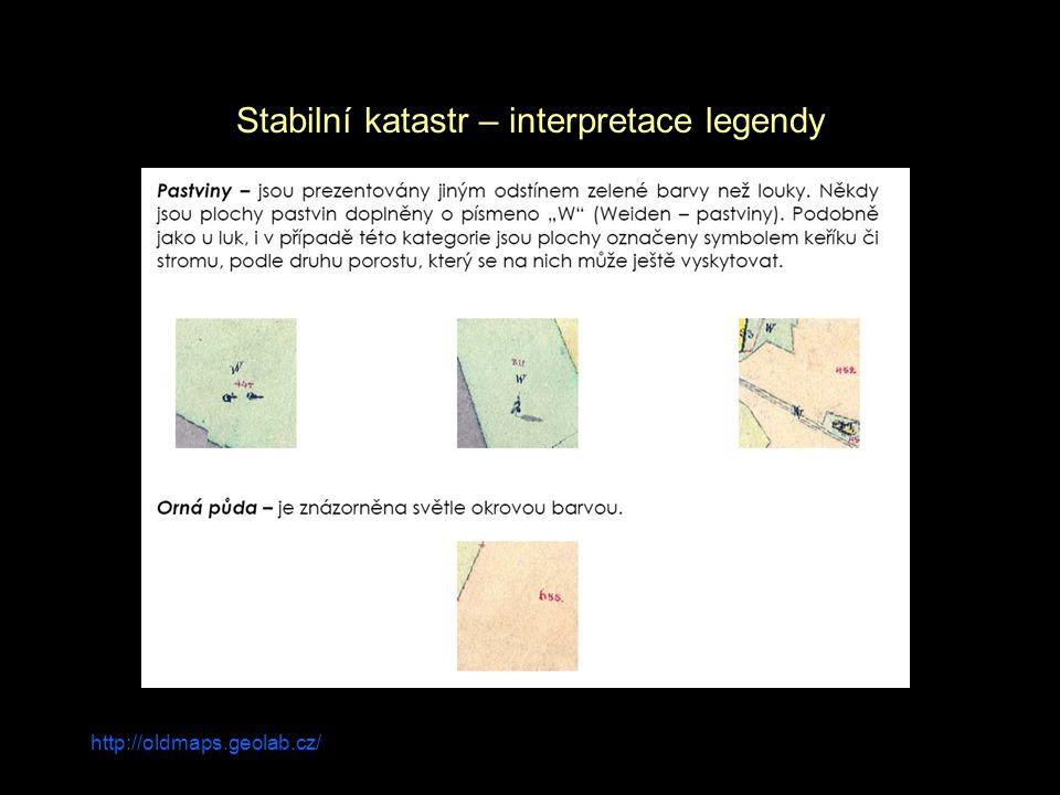 Stabilní katastr – interpretace legendy