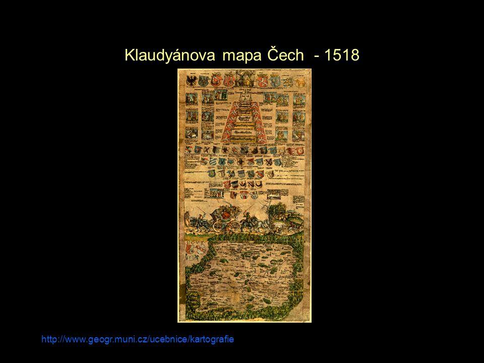 Klaudyánova mapa Čech - 1518