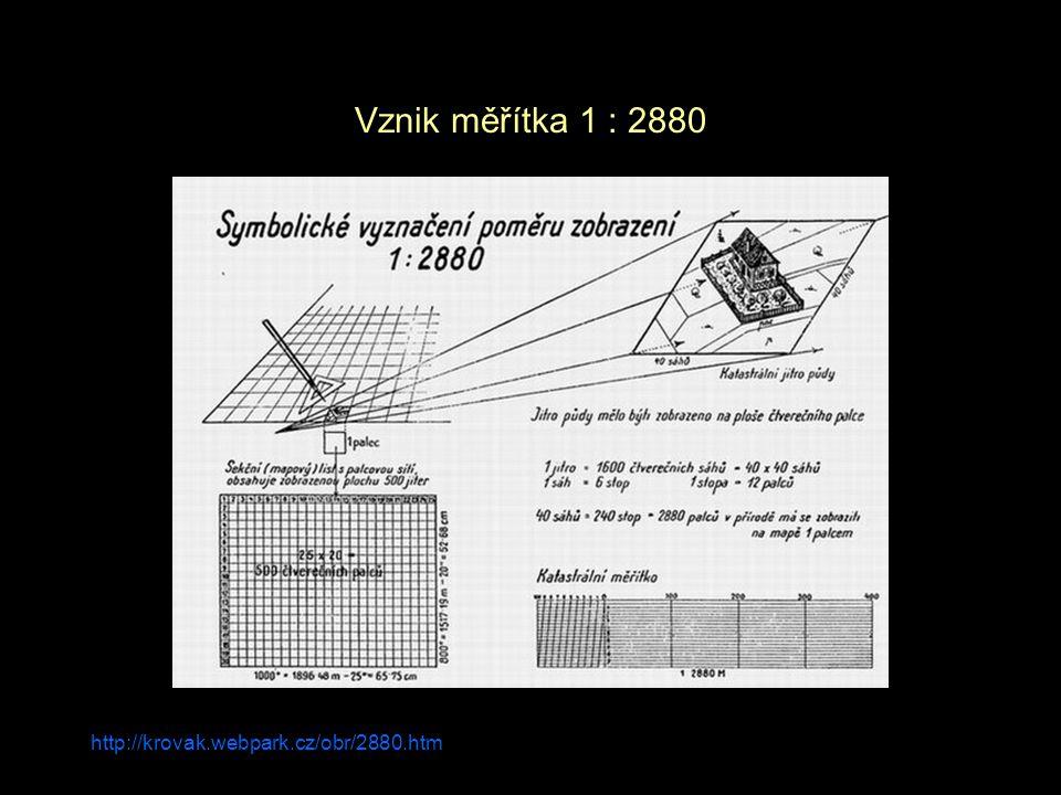 Vznik měřítka 1 : 2880 http://krovak.webpark.cz/obr/2880.htm