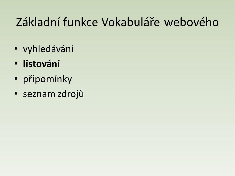 Základní funkce Vokabuláře webového