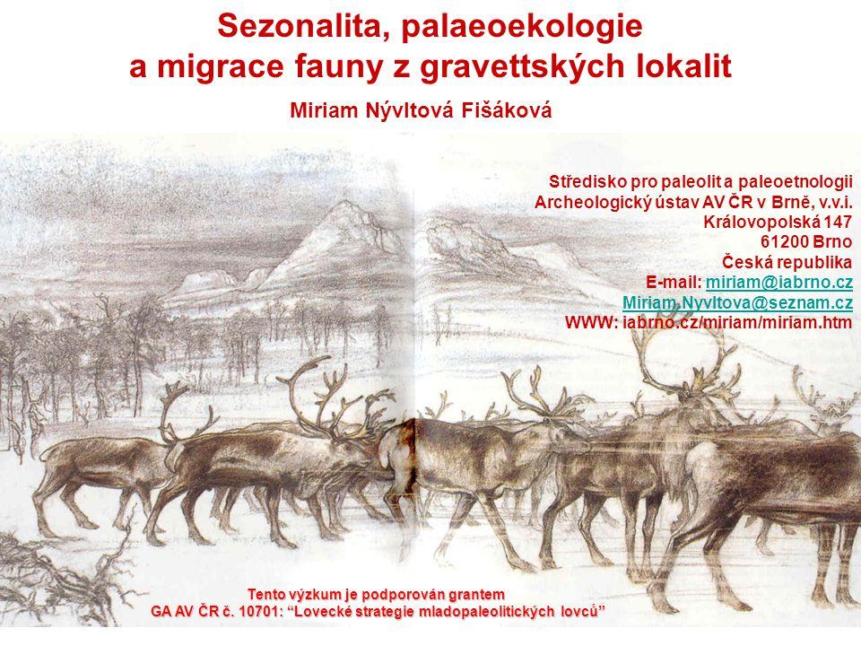 Sezonalita, palaeoekologie a migrace fauny z gravettských lokalit