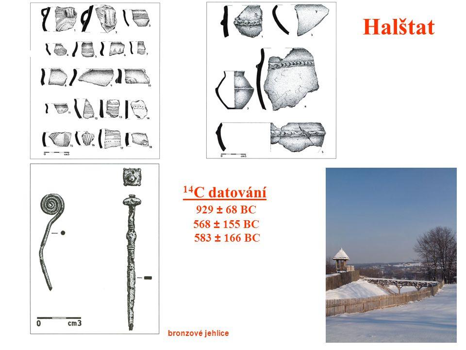 Halštat 14C datování 929 ± 68 BC 568 ± 155 BC 583 ± 166 BC