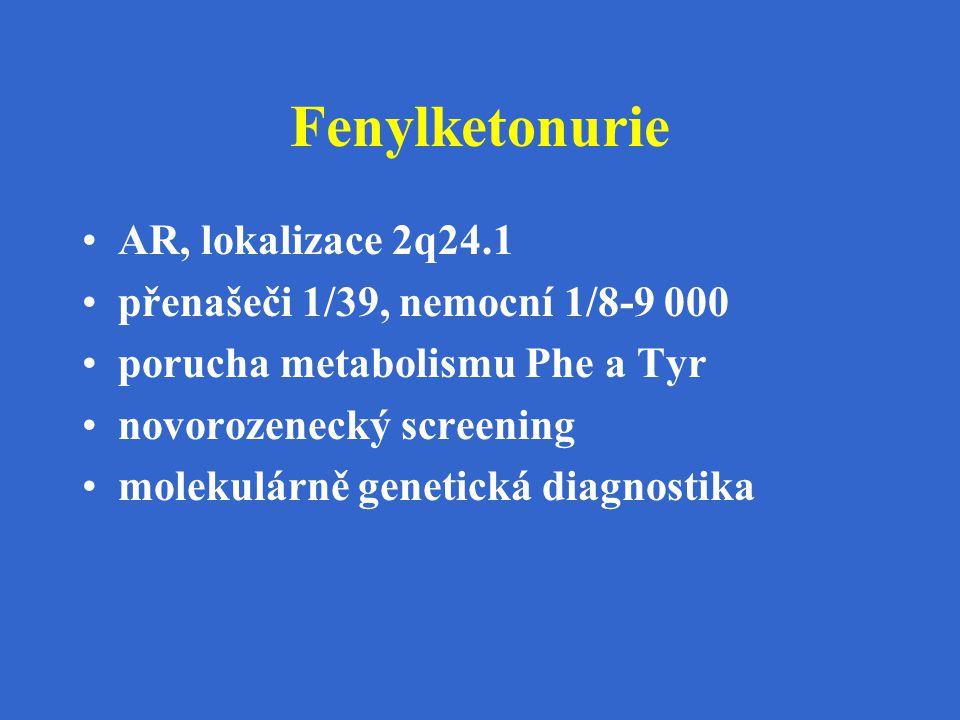 Fenylketonurie AR, lokalizace 2q24.1 přenašeči 1/39, nemocní 1/8-9 000