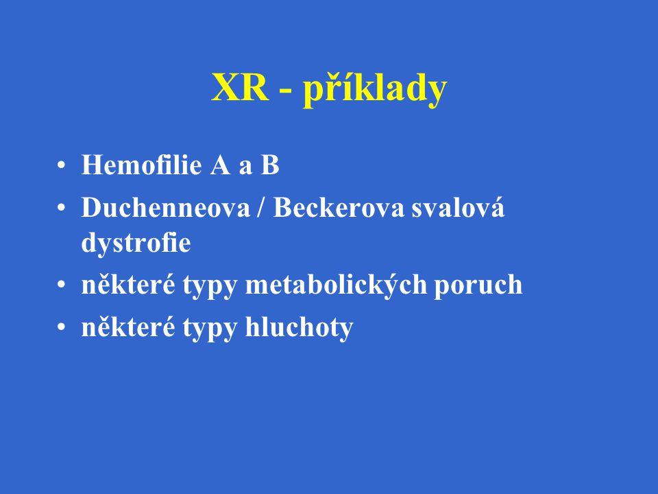 XR - příklady Hemofilie A a B