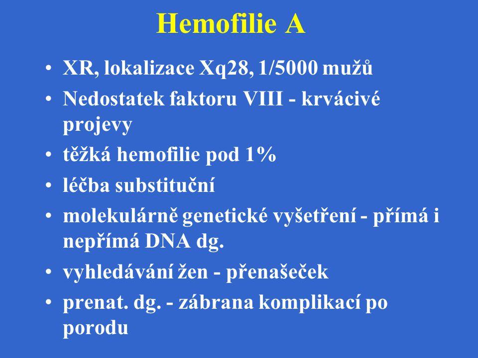 Hemofilie A XR, lokalizace Xq28, 1/5000 mužů