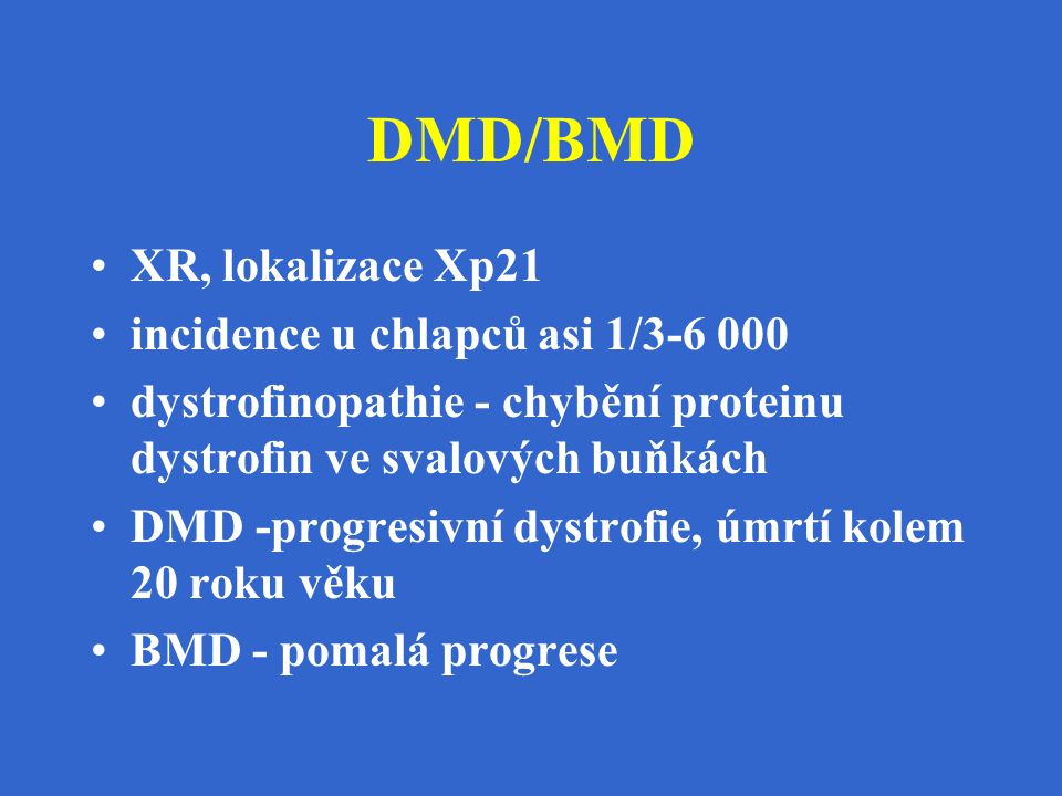 DMD/BMD XR, lokalizace Xp21 incidence u chlapců asi 1/3-6 000