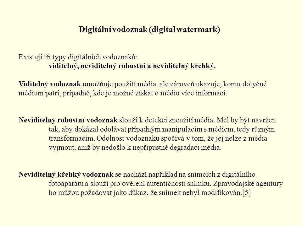 Existují tři typy digitálních vodoznaků: