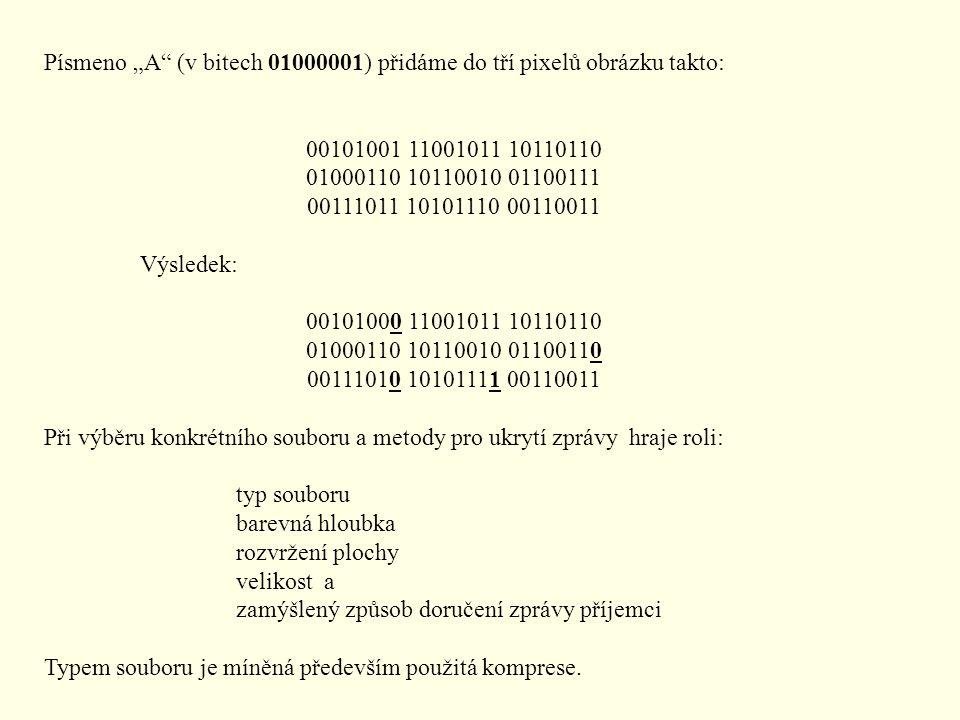 """Písmeno """"A (v bitech 01000001) přidáme do tří pixelů obrázku takto:"""