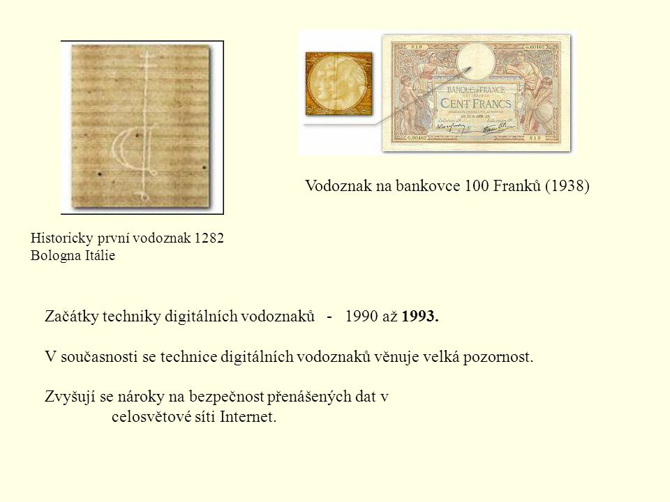 Vodoznak na bankovce 100 Franků (1938)