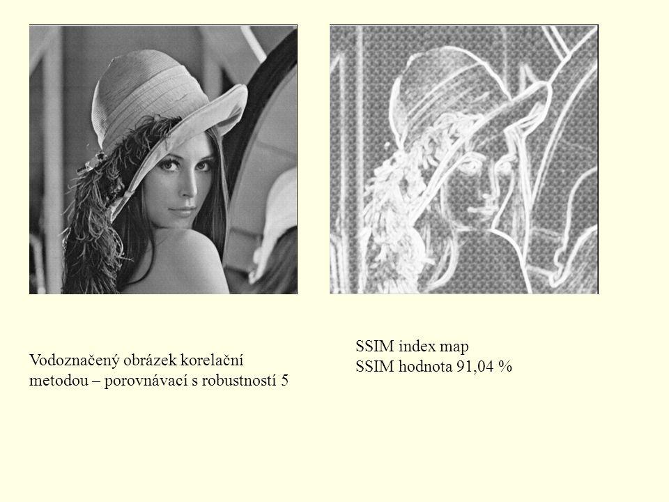 SSIM index map SSIM hodnota 91,04 % Vodoznačený obrázek korelační metodou – porovnávací s robustností 5.