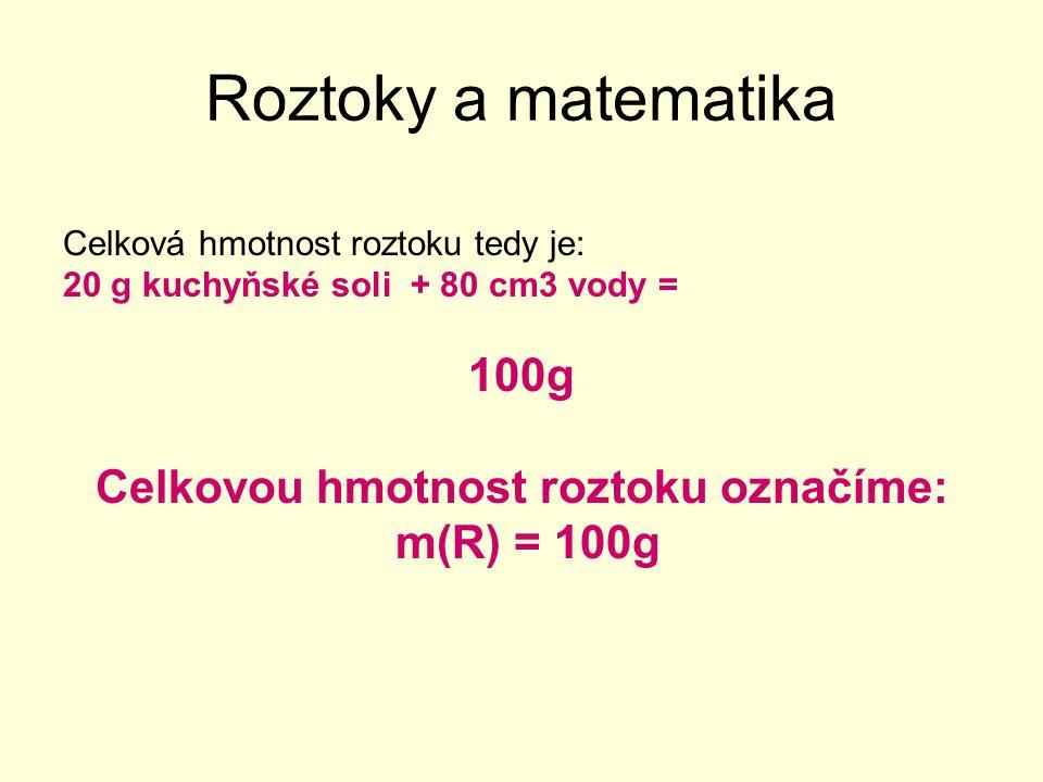 Celkovou hmotnost roztoku označíme: