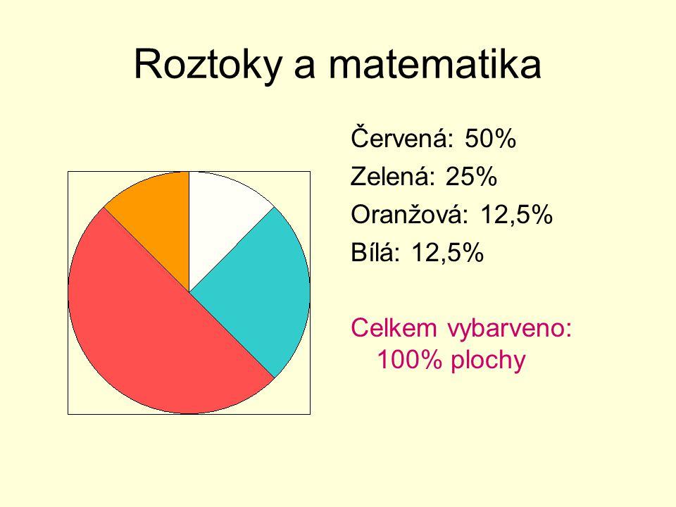 Roztoky a matematika Červená: 50% Zelená: 25% Oranžová: 12,5%