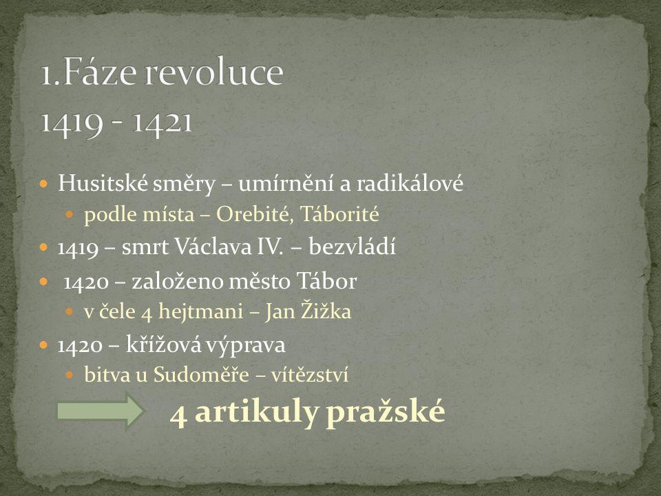 1.Fáze revoluce 1419 - 1421 Husitské směry – umírnění a radikálové