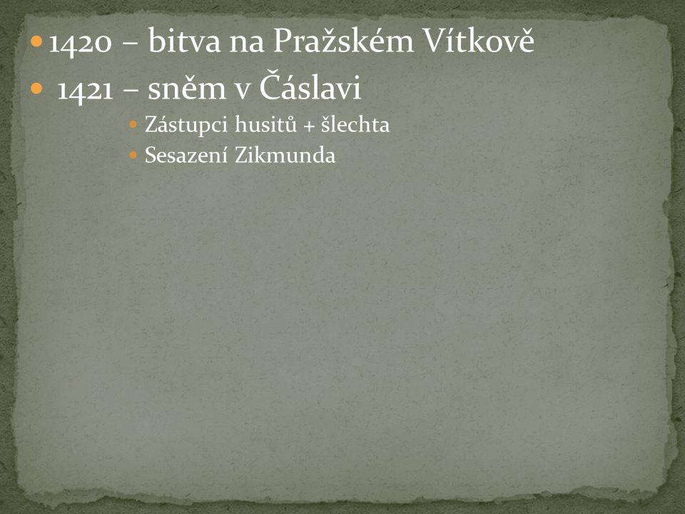 1420 – bitva na Pražském Vítkově 1421 – sněm v Čáslavi