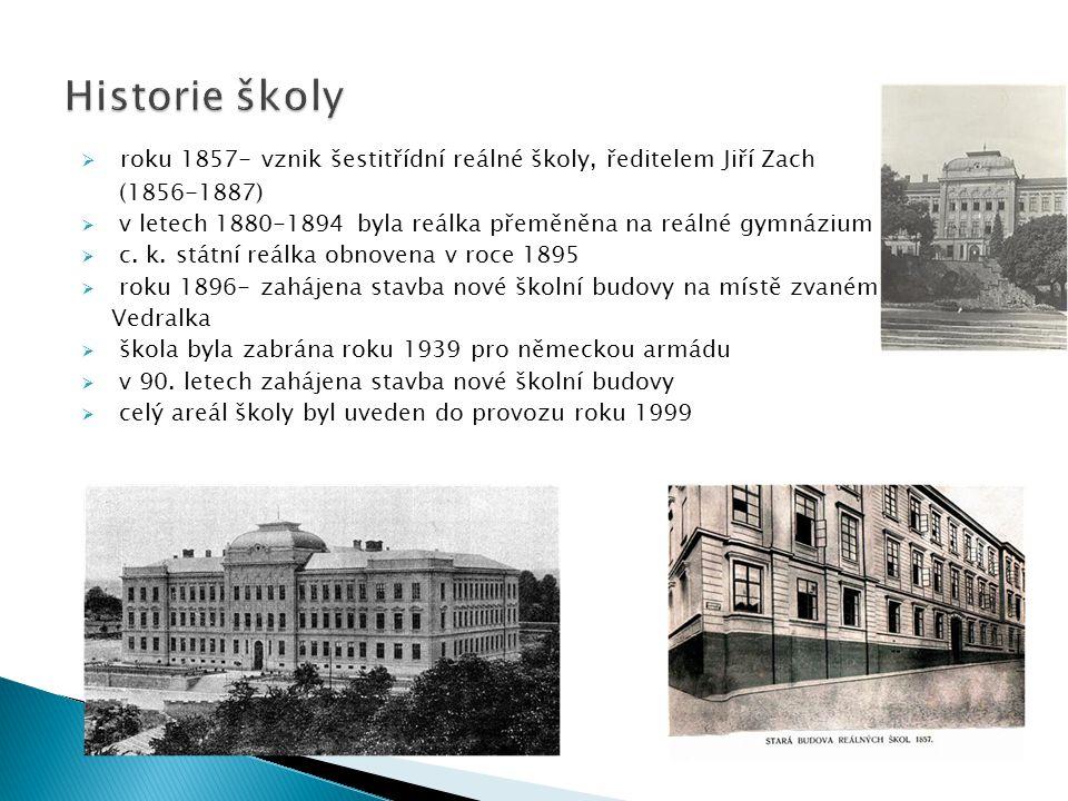 Historie školy roku 1857- vznik šestitřídní reálné školy, ředitelem Jiří Zach. (1856-1887)