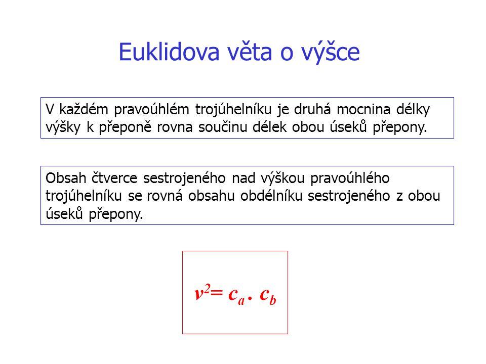 Euklidova věta o výšce v2= ca . cb