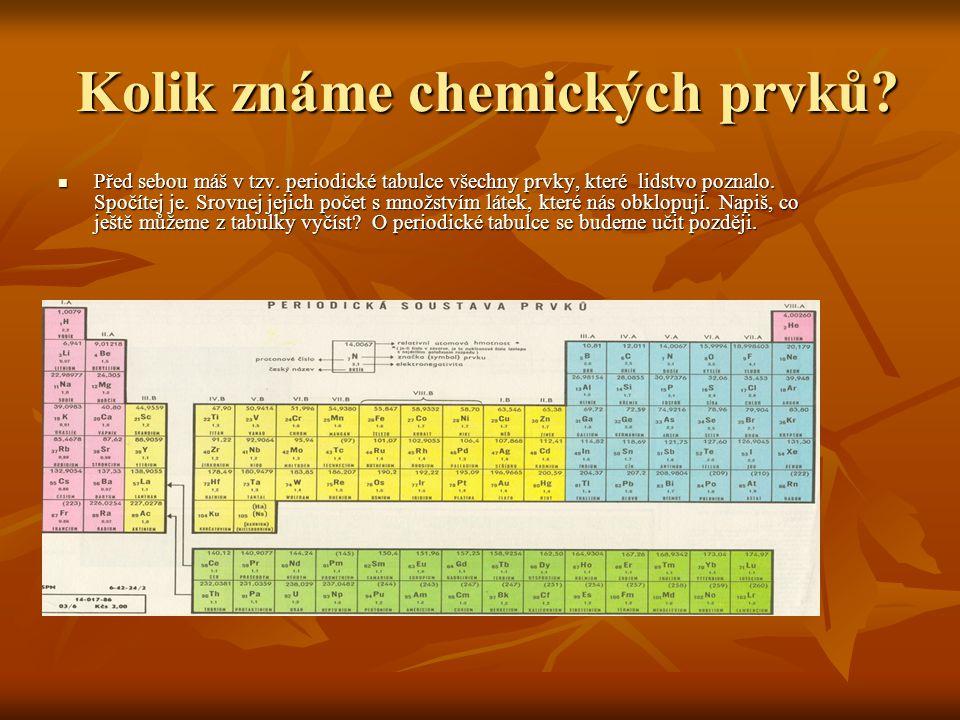 Kolik známe chemických prvků