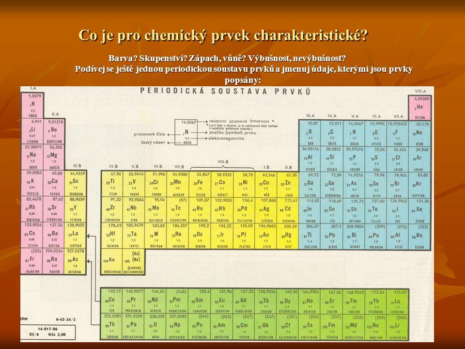Co je pro chemický prvek charakteristické