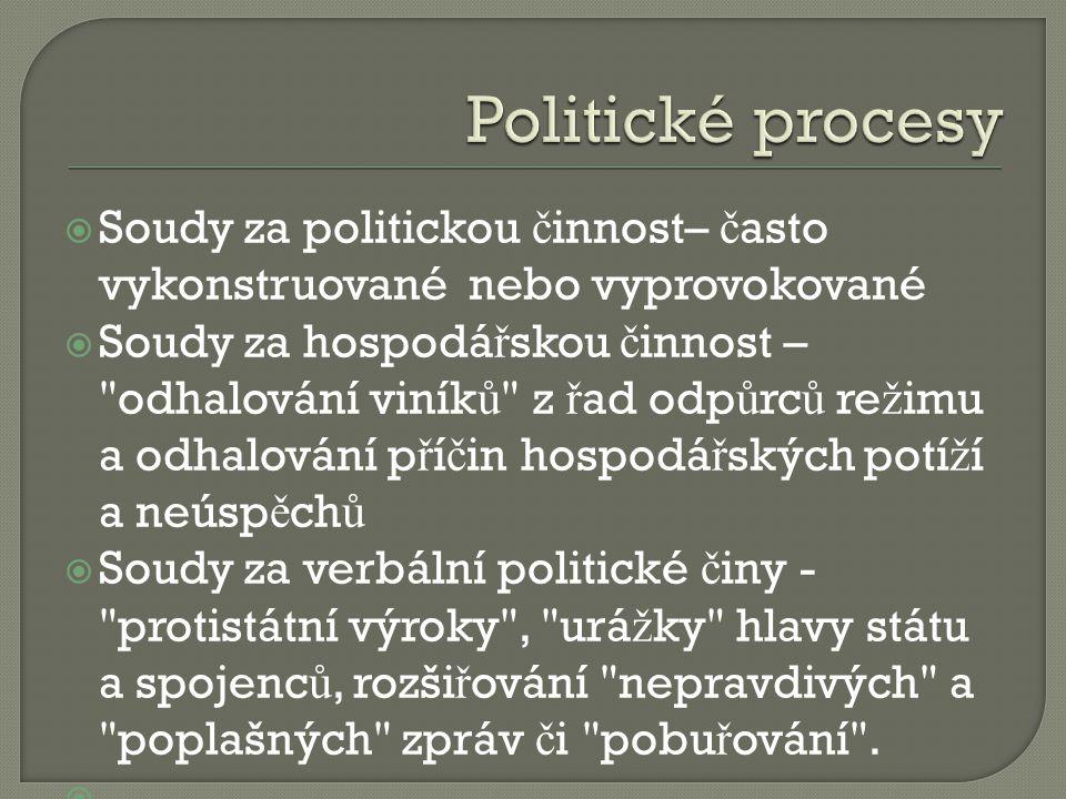 Politické procesy Soudy za politickou činnost– často vykonstruované nebo vyprovokované.