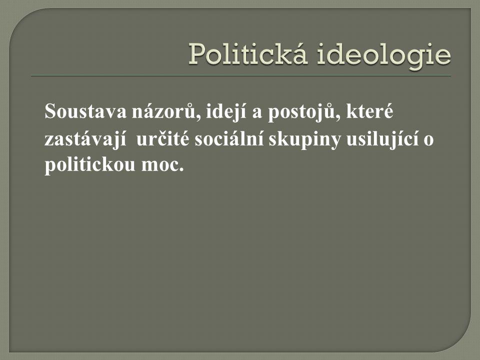 Politická ideologie Soustava názorů, idejí a postojů, které zastávají určité sociální skupiny usilující o politickou moc.