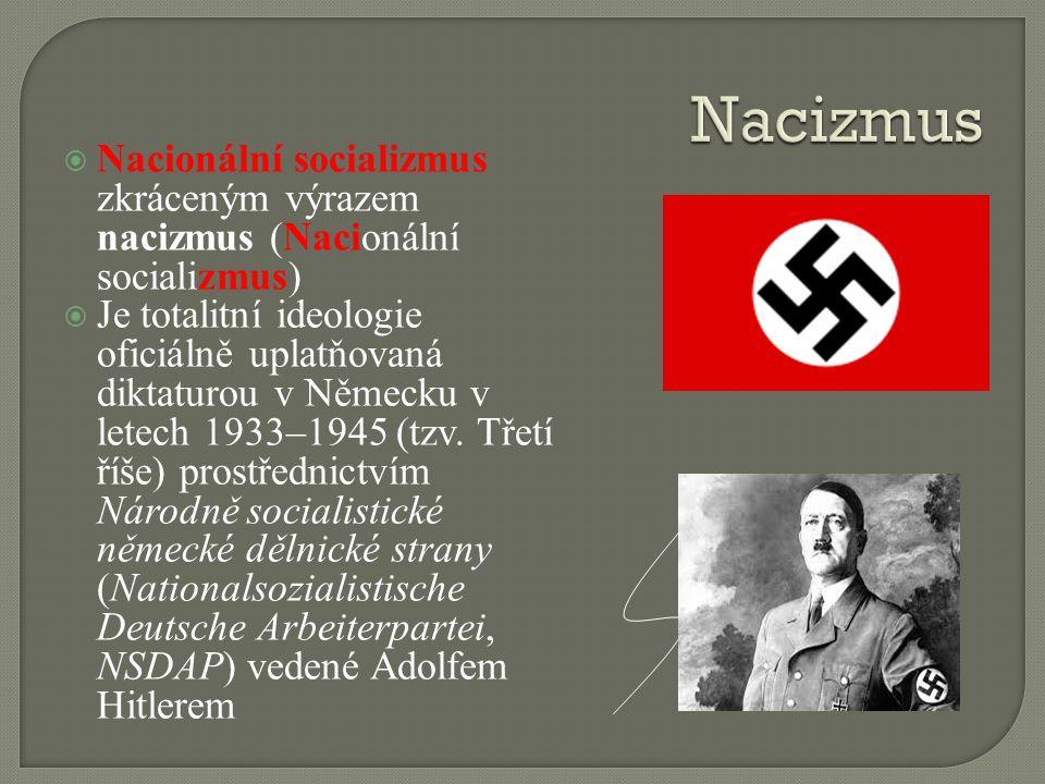 Nacizmus Nacionální socializmus zkráceným výrazem nacizmus (Nacionální socializmus)