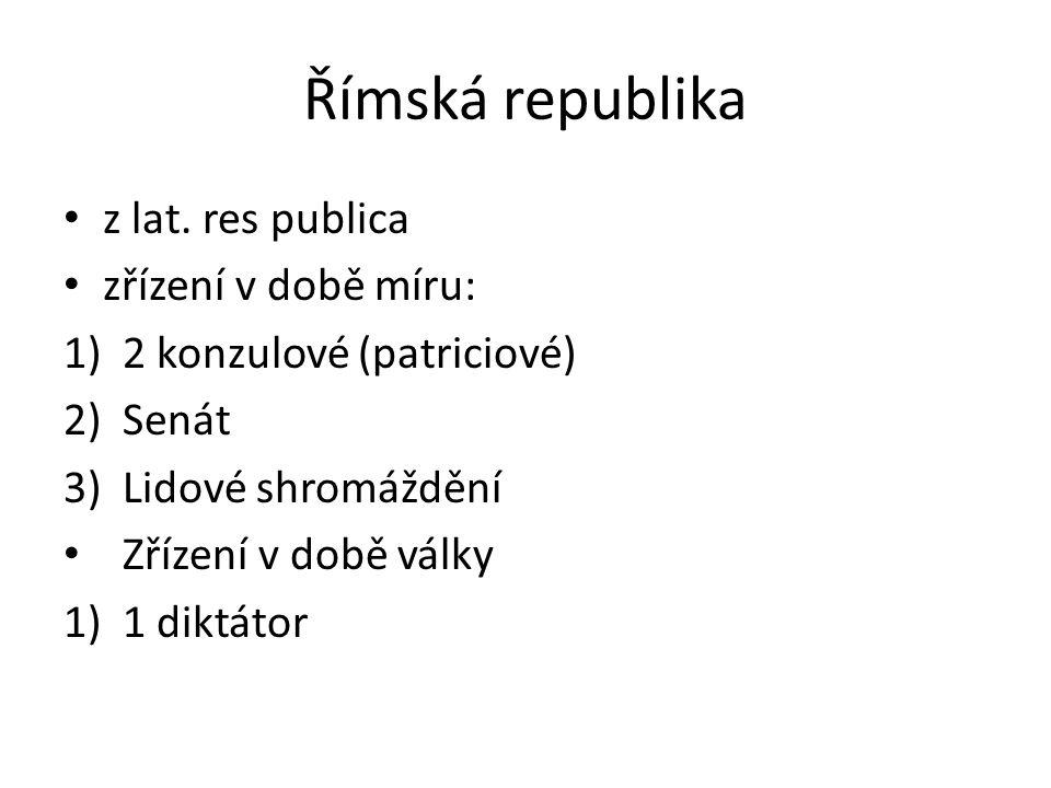 Římská republika z lat. res publica zřízení v době míru: