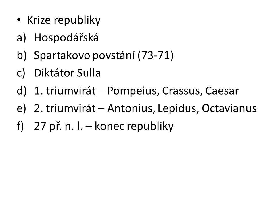 Krize republiky Hospodářská. Spartakovo povstání (73-71) Diktátor Sulla. 1. triumvirát – Pompeius, Crassus, Caesar.