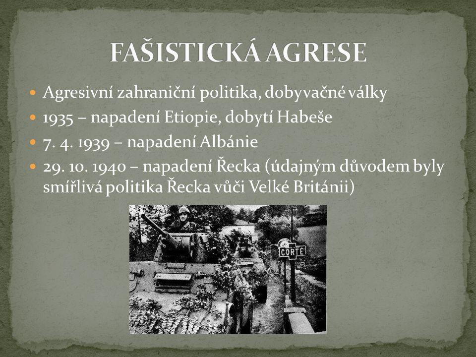 FAŠISTICKÁ AGRESE Agresivní zahraniční politika, dobyvačné války
