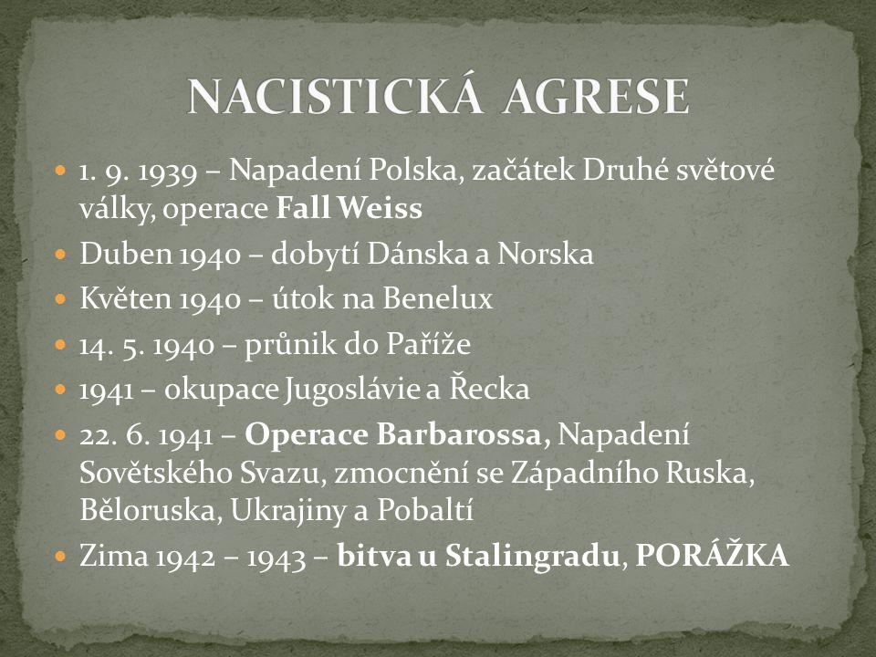NACISTICKÁ AGRESE 1. 9. 1939 – Napadení Polska, začátek Druhé světové války, operace Fall Weiss. Duben 1940 – dobytí Dánska a Norska.