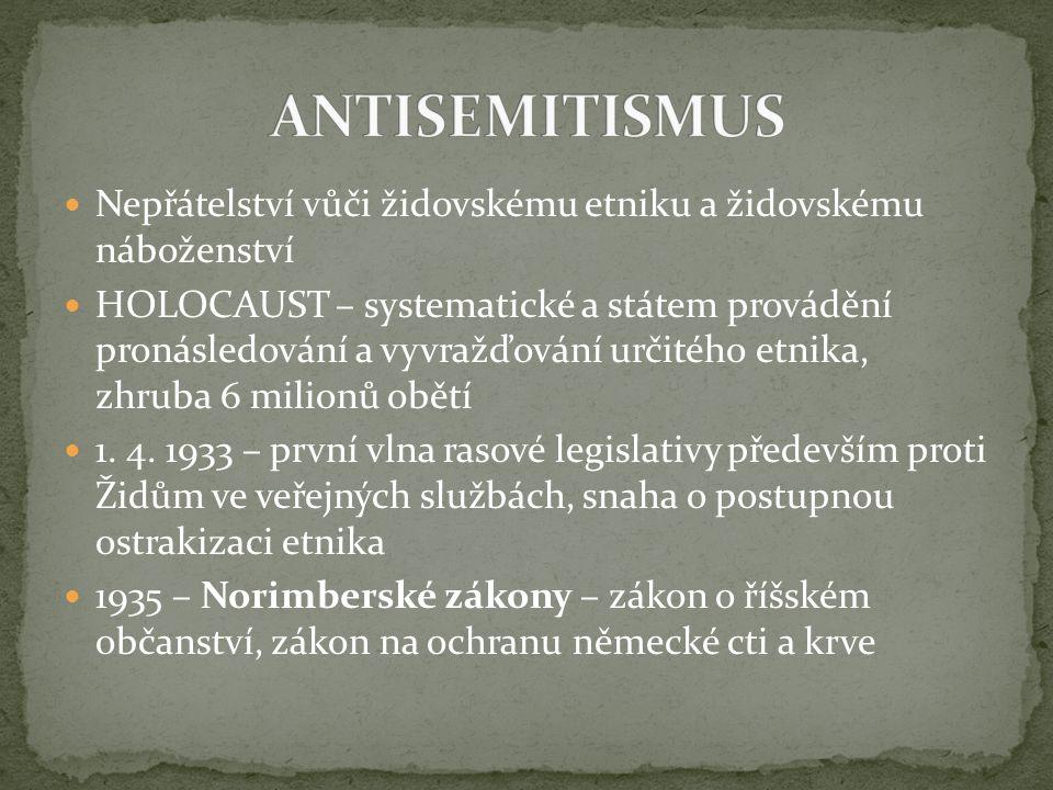 ANTISEMITISMUS Nepřátelství vůči židovskému etniku a židovskému náboženství.