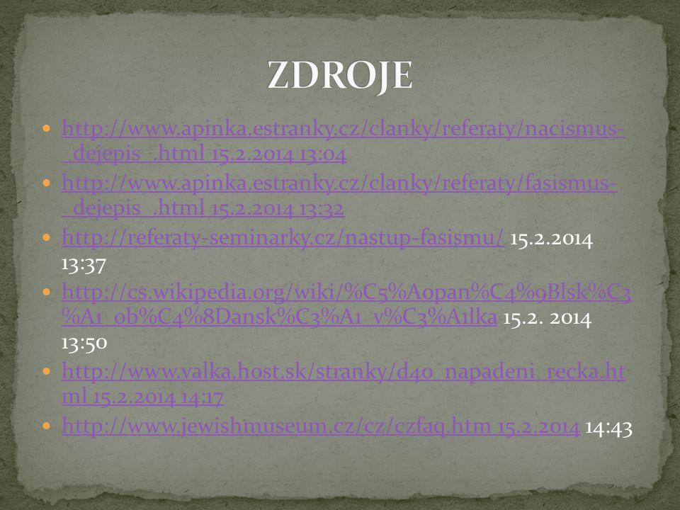 ZDROJE http://www.apinka.estranky.cz/clanky/referaty/nacismus- _dejepis_.html 15.2.2014 13:04.