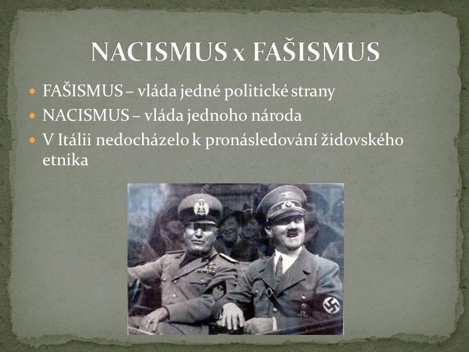 NACISMUS x FAŠISMUS FAŠISMUS – vláda jedné politické strany