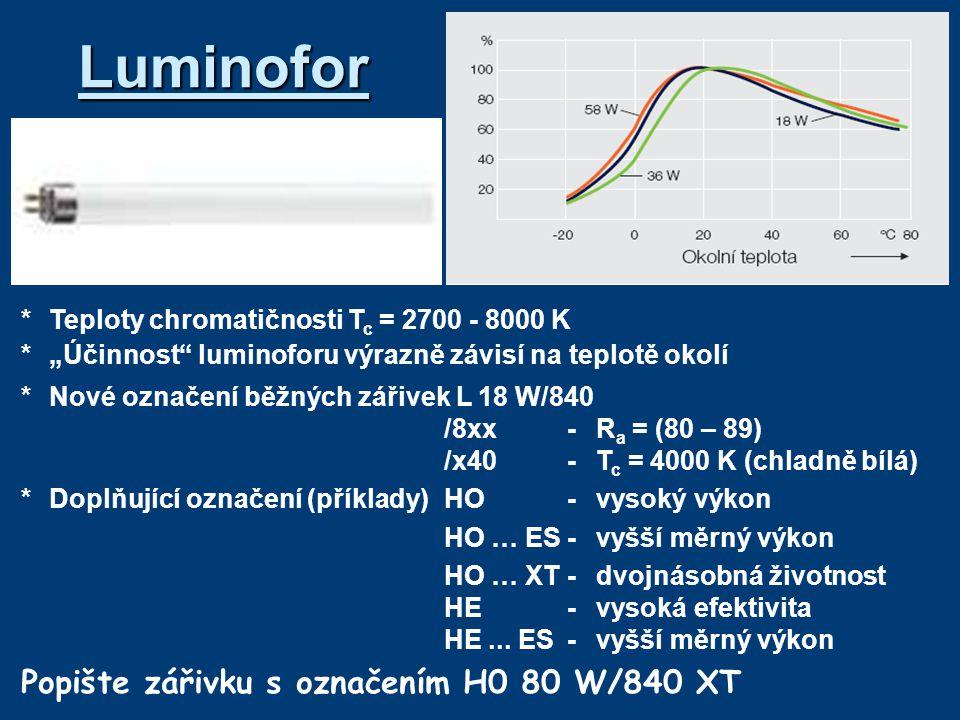 Luminofor Popište zářivku s označením H0 80 W/840 XT
